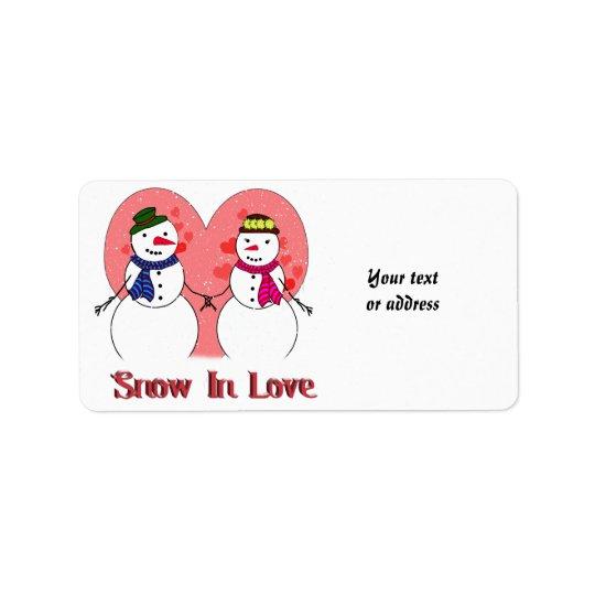 Neige dans l'amour étiquette d'adresse