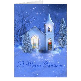Neige, église, carte de voeux de Noël