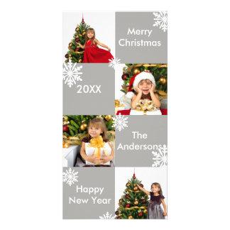 Neige grise de 8 carrés - carte photo de Noël