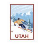 Neige inclinée SkierUtah Carte Postale