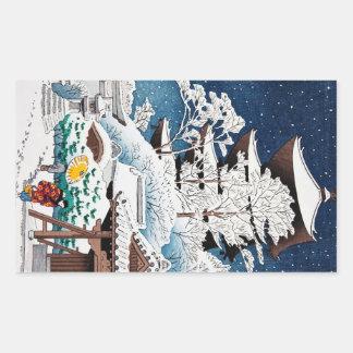 Neige japonaise orientale fraîche d'hiver de autocollants en rectangle