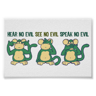 N'entendez aucun vert de singes de mal poster