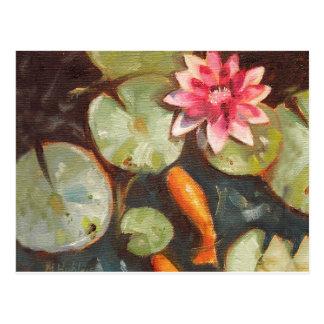 Nénuphars d étang de Koi de poisson rouge Cartes Postales