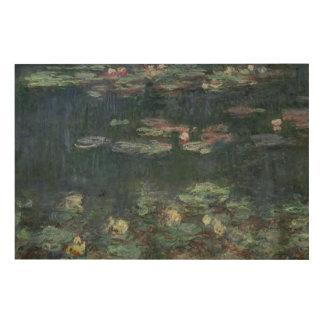 Nénuphars de Claude Monet | : Réflexions vertes Impression Sur Bois