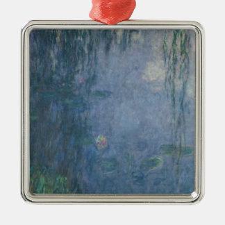 Nénuphars de Claude Monet | : Saules pleurants, Ornement Carré Argenté