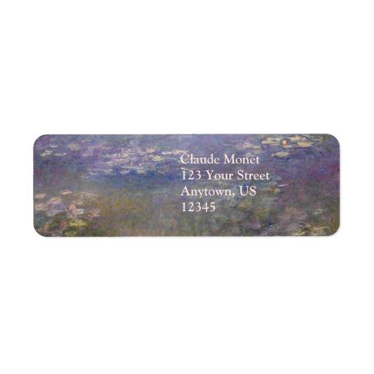 Nénuphars par Claude Monet Étiquette D'adresse Retour
