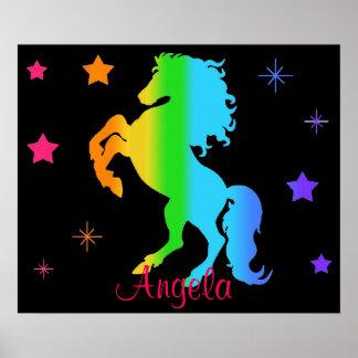 Néon de Blacklight de fille d'étoile de cheval Poster
