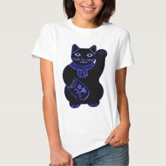 néon de bleu de neko de maneki t-shirt
