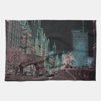 NÉON DU MUSÉE D'ART 1967 D'AVENUE DE CHICAGO SERVIETTE POUR LES MAINS