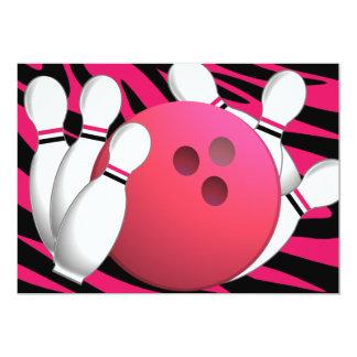 Néon et zèbre de bowling invitations personnalisables