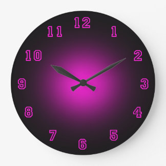 "Néon rose 10,75"" grande horloge ronde"