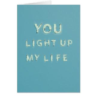 Néon vous allumez ma carte de jour de Valentines