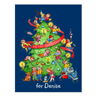 Nettoyage de la carte postale d'arbre de Noël