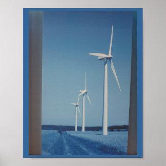 NETTOYEZ la fan de roue de Gaint d'énergie éolienn Posters