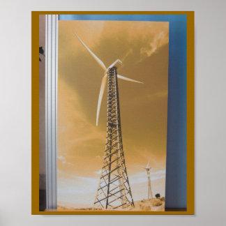 NETTOYEZ la fan de roue de Gaint d'énergie éolienn Affiches