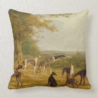Neuf lévriers dans un paysage (huile sur la toile) oreillers