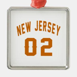 New Jersey 02 conceptions d'anniversaire Ornement Carré Argenté