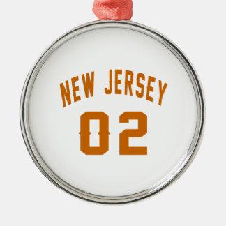 New Jersey 02 conceptions d'anniversaire Ornement Rond Argenté