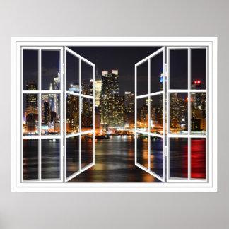New York à l'affiche de fenêtre ouverte de carreau Posters
