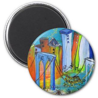 New York chancelant Magnet Rond 8 Cm