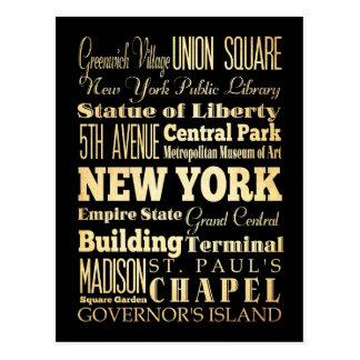 New York City d art de typographie de l état de Ne Carte Postale