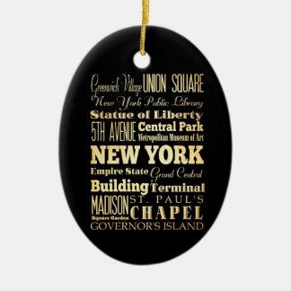 New York City d'art de typographie de l'état de Ornement Ovale En Céramique