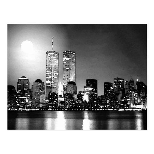 New york city noir et blanc la nuit cartes postales zazzle for Credence new york noir et blanc