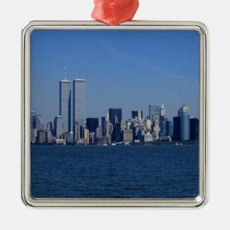 New York, Etats-Unis. Horizon de Manhattan du Ornement Carré Argenté