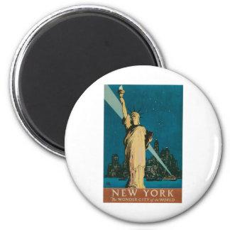 New York : La ville de merveille de l'affiche du m Magnet Rond 8 Cm