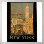 New York vintage de Glasgow par la ligne d'ancre Affiches