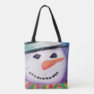 Nez coloré heureux de carotte de bonhomme de neige tote bag