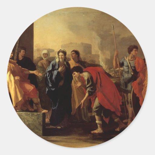 Nicolas Poussin- la continence de Scipio Autocollant Rond