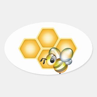 Nid d abeilles avec une abeille mignonne adhésifs