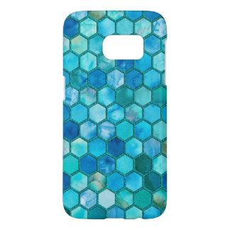 Nid d'abeilles de luxe de bleu d'Aqua de Coque Samsung Galaxy S7