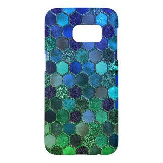 Nid d'abeilles de luxe de vert bleu de coque samsung galaxy s7