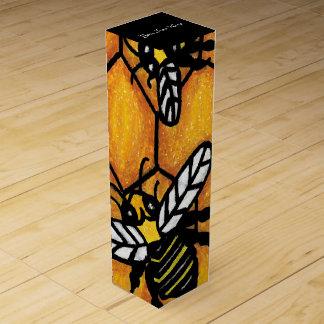 Nid d'abeilles de ronflement mignon d'abeille de boite cadeau pour bouteille de vin
