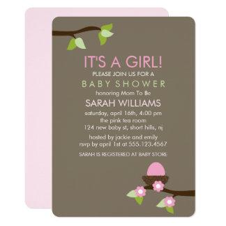 Nid d'oiseau et baby shower de fille de fleurs carton d'invitation  12,7 cm x 17,78 cm