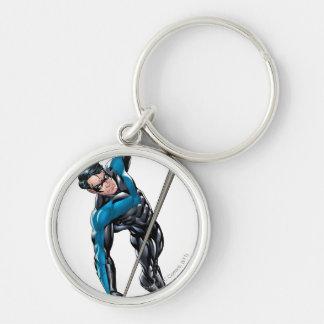 Nightwing avec la corde porte-clé rond argenté