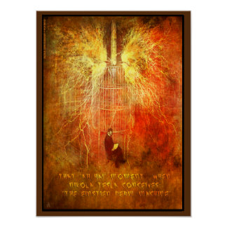 """Nikola Tesla a """"OH un moment d'ha"""" Affiches"""