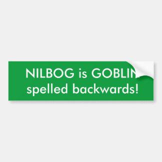 NILBOG est LUTIN écrit vers l'arrière ! Autocollant De Voiture