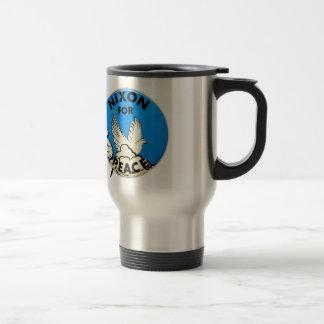 Nixon vintage pour le bouton de paix mug de voyage en acier inoxydable
