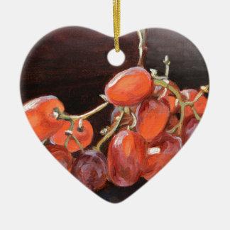 No. 2 de raisins rouges ornement cœur en céramique