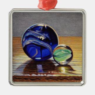 No. en verre 3 de marbres ornement carré argenté