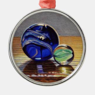 No. en verre 3 de marbres ornement rond argenté
