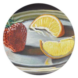 No. juteux 2 d'orange de fraise d'agrume assiettes en mélamine