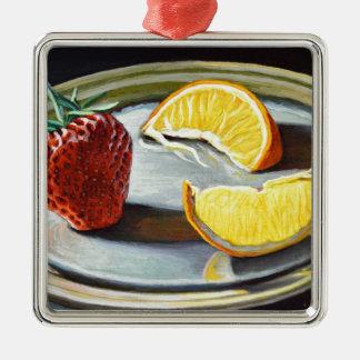 No. juteux 2 d'orange de fraise d'agrume ornement carré argenté
