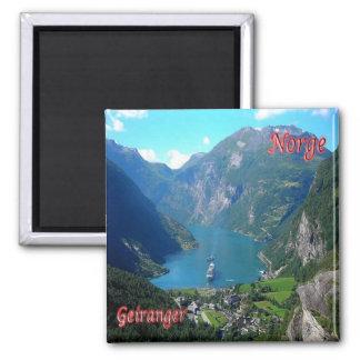 NO- la Norvège - le Geiranger Magnet Carré