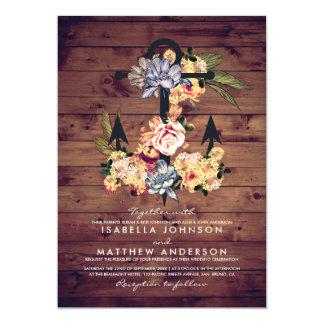 Noce élégante florale rustique de l'ancre | carton d'invitation  12,7 cm x 17,78 cm