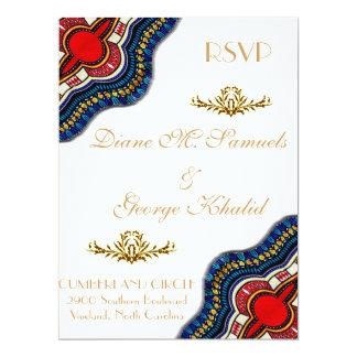 Noce ethnique de dentelle de Dashiki d'Africain Carton D'invitation 16,51 Cm X 22,22 Cm