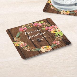 Noce florale en bois de tapis de dessous de verre dessous-de-verre carré en papier